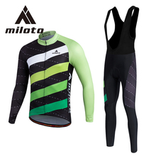 MILOTO Winter Cycling Clothing Mens Thermal Fleece Cycling Jersey Maillot Ciclismo XXS-5XL Bike MTB Road Ropa Ciclismo Gel Pads