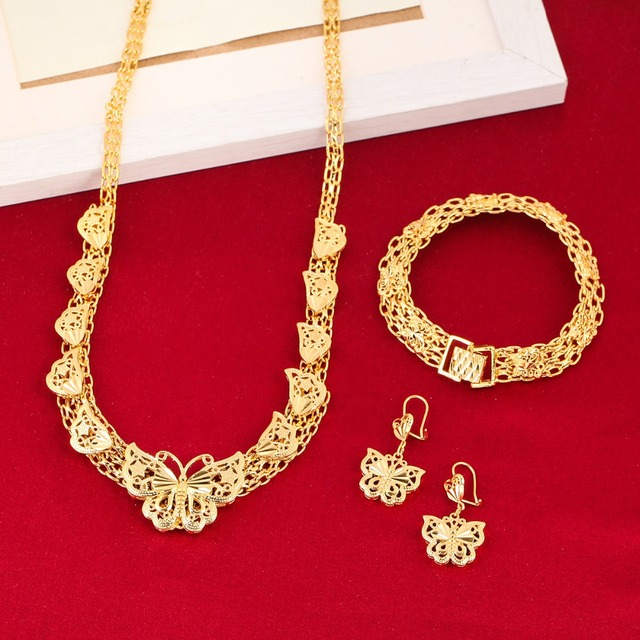 Ethiopian Wedding Jewelry Sets 24K Gold Color Butterfly Earring