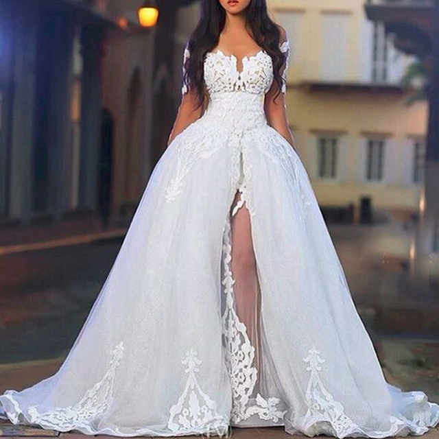 Arabic Middle East wedding dresses with Detachable Train Sheer ...