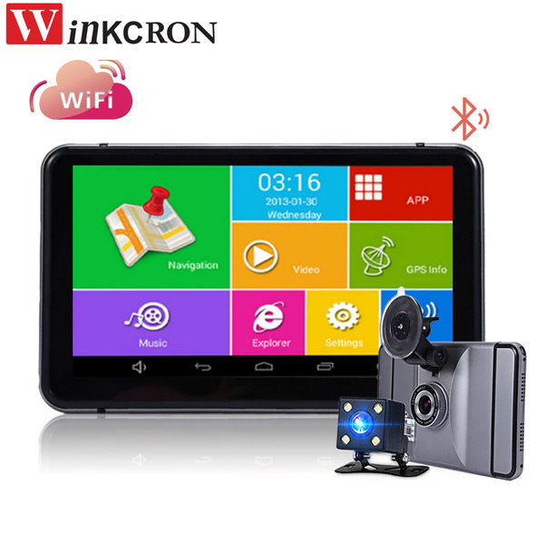 Car DVR Camera 7 dual lens Android Car rear view camera GPS Navigation Bluetooth WIFI Quad core Truck vehicle gps Russia/Europe