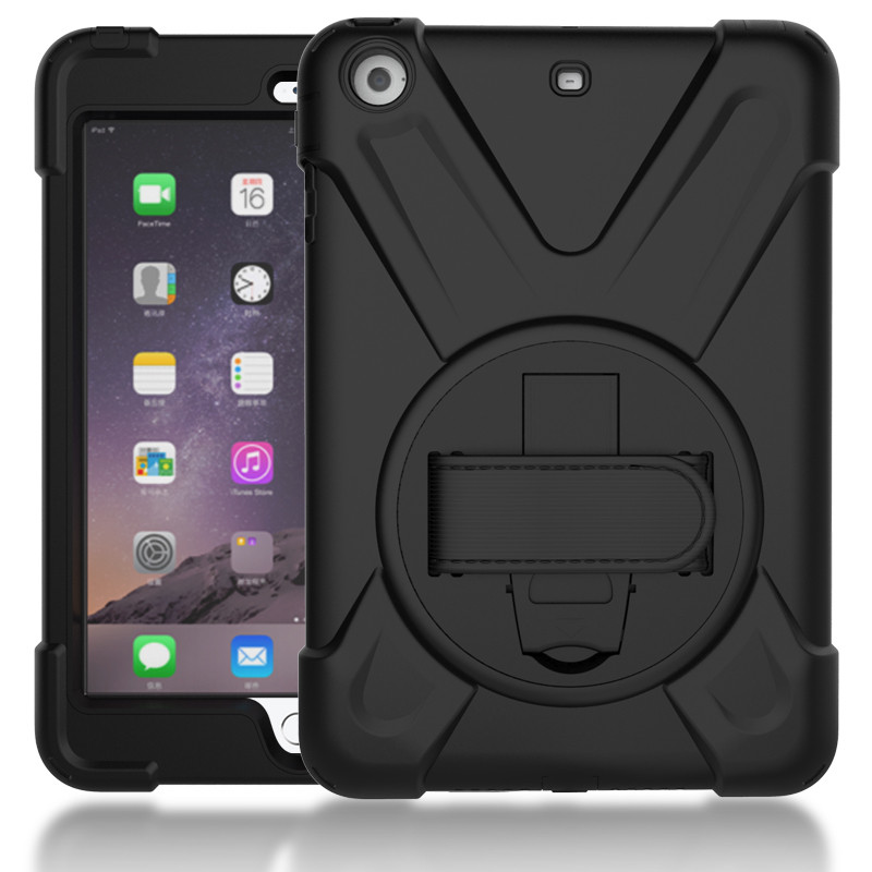 For iPad mini 1/2/3 Shockproof Kids Protector Case for iPad mini 3 Heavy Duty Silicone Hard Cover kickstand design Hand bracel protective abs silicone bumper case for ipad mini retina ipad mini purple transparent