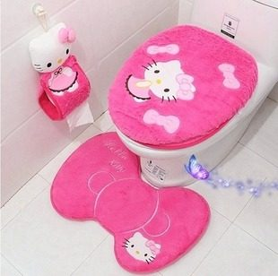 Hello Kitty Bathroom Set Toilet Cover Mat Holder Closestool Lid Products Accessories Sets 4pcs S