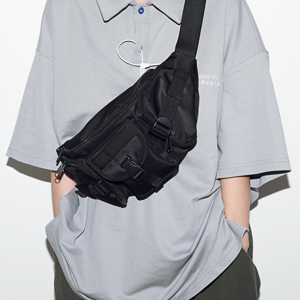 019 Men Street Multifunction Chest Bag High Quality Tactical Chest Packs Short Trip Messengers Bag Water Repellent Shoulder Bag