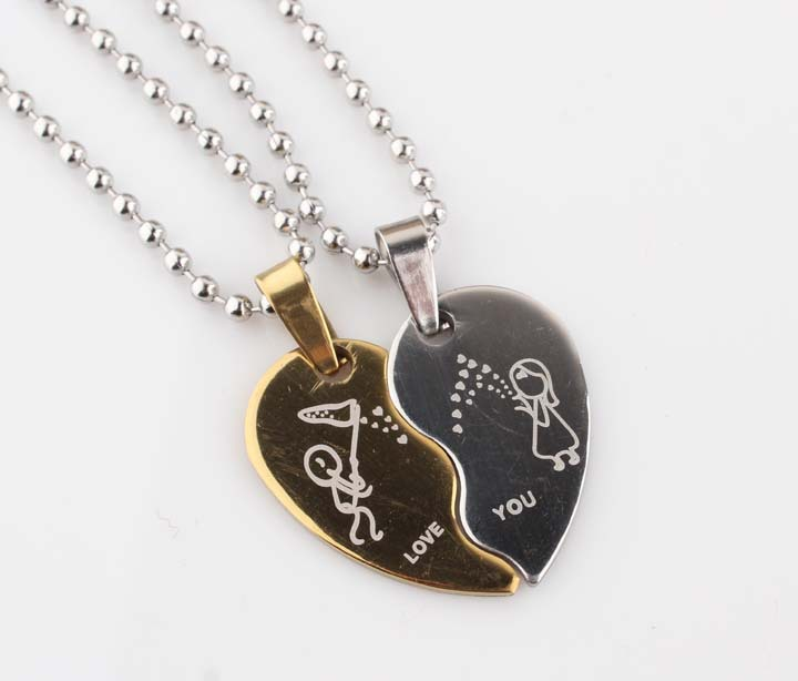 best friends pendant two engraved necklace heart half piece gold