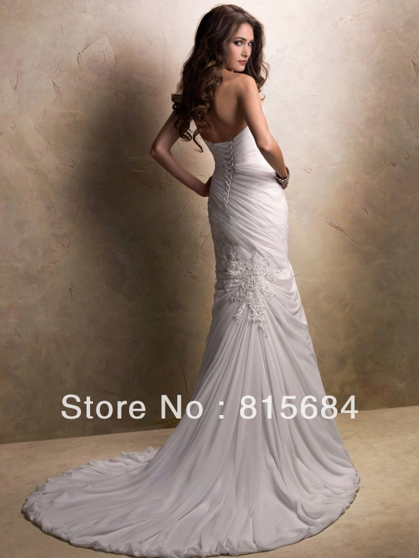 unique free shipping sweetheart mermaid sweep train corset wedding dresses chiffon beach wedding gowns 2013 new