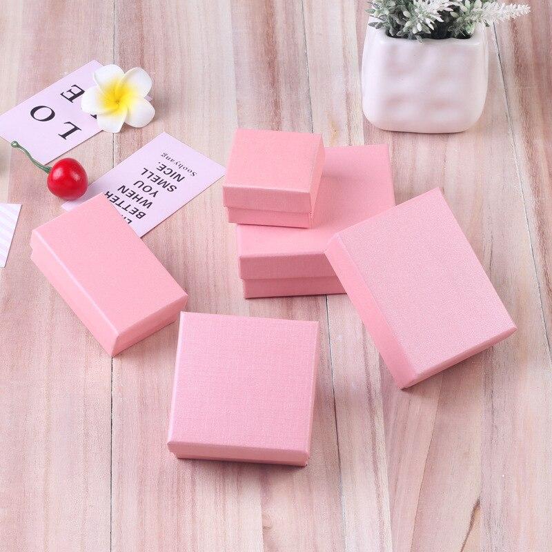 Ziris Gift Box 12 Pcs Lot Wholesale Pink Kraft Paper Favour Boxes Fashion Design Bulk Necklace Ring Bracelet Jewelry Box