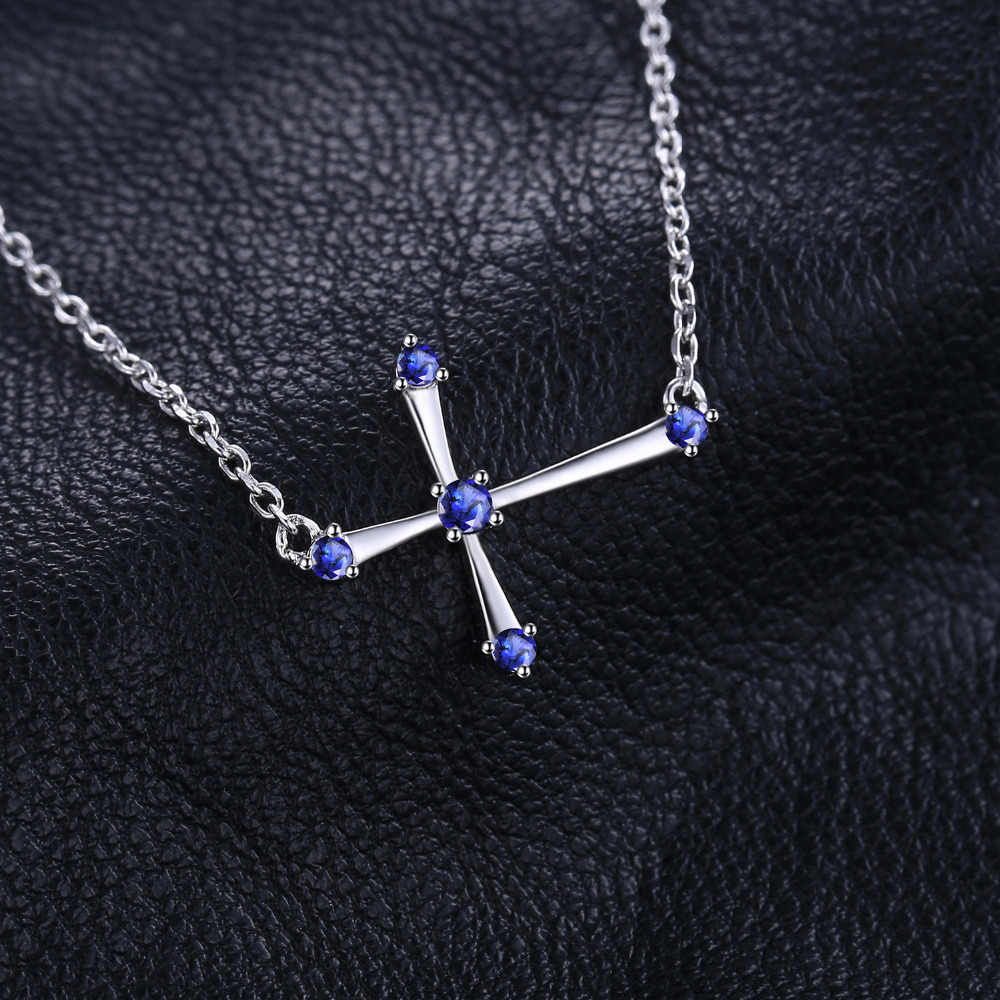 JewelryPalace 0.25ct Created Sapphire Cute Cross Necklace 925 Sterling Silver Jewelry for Women Fine Jewelry For Women 2018 New