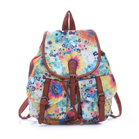 Women Backpacks Vintage School Bag for Youth Bohemian Women Drawstring Printing Canvas Backpack Femme Ruchsack Sac A Dos New