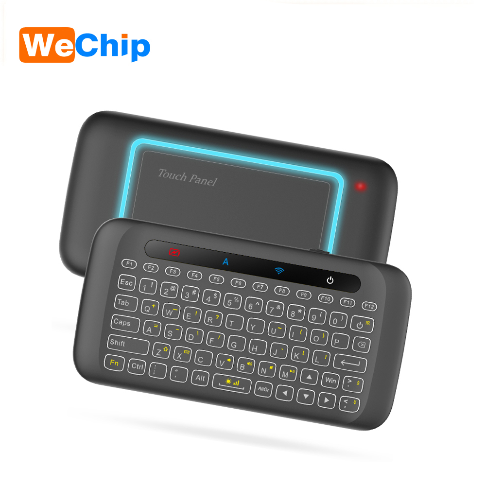 H20 Mini teclado inalámbrico retroiluminación Touchpad Air ratón IR inclinada control remoto para Android caja de TV inteligente Windows PK H18 plus