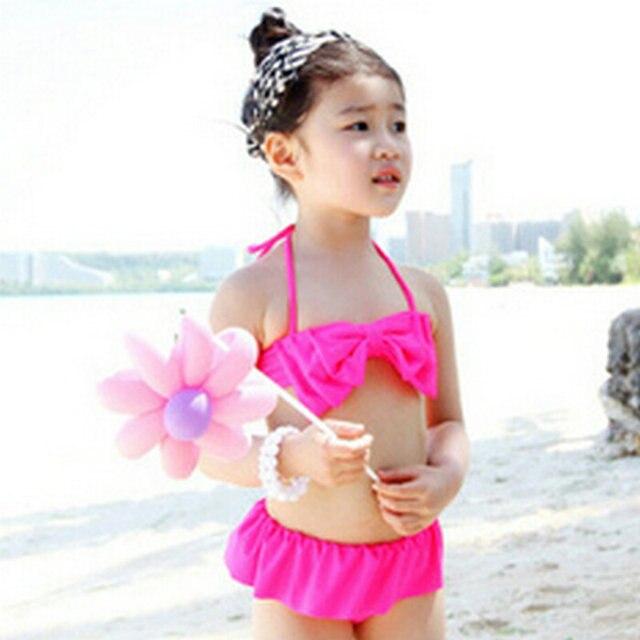 6e73c7328fa68 Take Vacation on Sea Beaches Cute Rose Young Girls Bikinis Set Swimming  Clothes Children Kids Swimwear Swimsuits Free Shipping