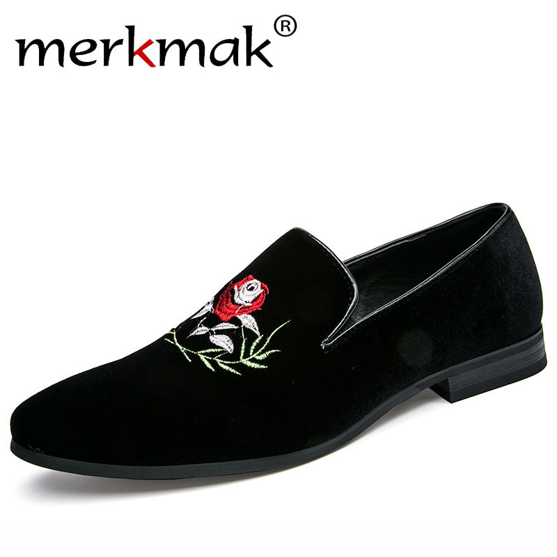 Merkmak Italy Fashion Design Men Loafers Rose Flower Embroidery Men Leather Shoes Mens Casual Flat Loafer Party Wedding Shoes цена
