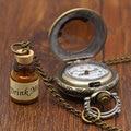 Горячая старинные бронза пить мне желая бутылки карманные часы с цепочкой ожерелья подарок для алиса вентилятор