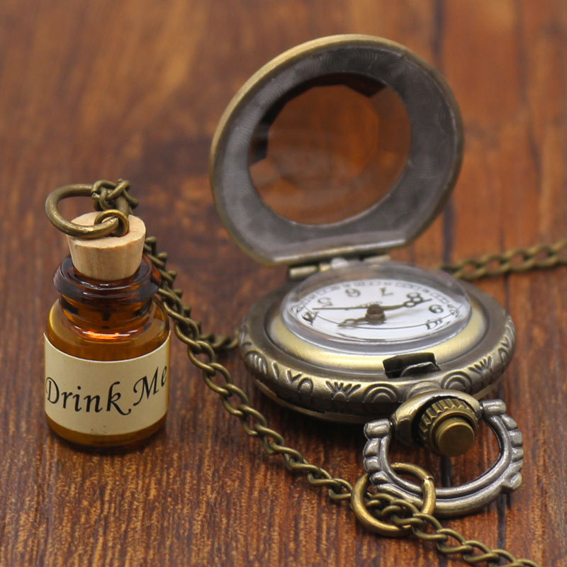 Hot Vintage Bronze Drink me Wishing Bottle Pocket Watch with Chain Necklace Pendant Gift For Alice Fan vintage cartoon camera shape sweater chain pocket watch pendant necklace korean style hot