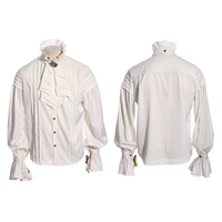 Steampunk Man White Stand Collar Shirt with Necktie Unique Design Punk Gothic Folds Shirt Long Sleeve Casual Shirt Tops