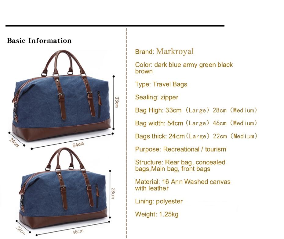 Для MARKROYAL 8655 парусиновые кожаные мужские дорожные сумки с доплатой только#8655 4000519291256