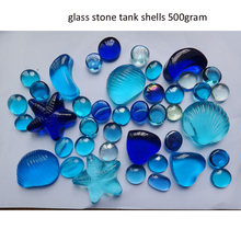 free shipping Mediterranean blue glass stone shell aquarium decorations beads 500grams