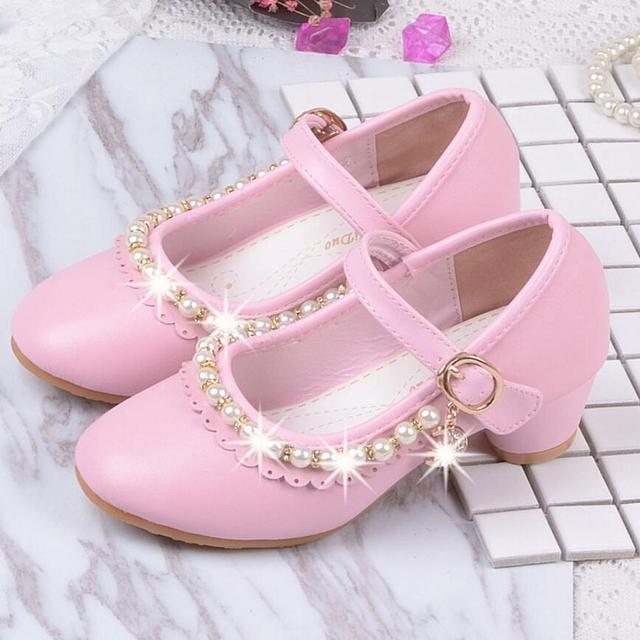 235359ae Niños elegantes sandalias de princesa niños niñas boda PU zapatos de cuero  tacones altos vestido de