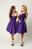 Wholesale 2013 New Hot Sale Cheap Sexy Sweetheart Purple Satin Pleated Knee Length Ruffles Bridesmaid Dresses 1815159