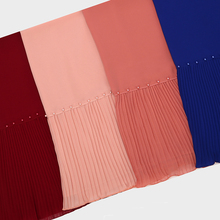 New Arrival beads Patchwork pleat bubble chiffon pearl Wrinkle shawls hijab drape stitching muslim scarves/scarf
