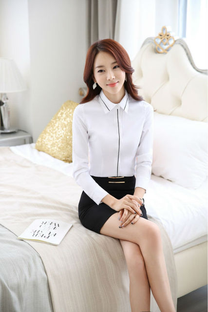 New 2015 Novelty White Slim Fashion Uniform Styles Business Women Suits With Tops And Skirt Ladies Office Shirts Outfits Set