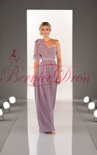 2014 Popular One-Shoulder A-Line Floor-Length Pale Pink Chiffon Ruched Bridesmaid Dresses Vestido Pra Madrinha Cheap Party Gowns