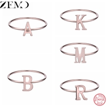 ZEMO Luxury Rose Gold Alphabet Ring Real 925 Silver Finger for Women Fashion Party Jewellry Accessory Statement Gift