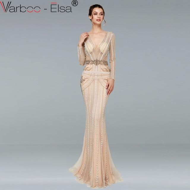 4d09fb5436 VARBOO ELSA Długie Rękawy backless Syrenka Luksusowe Sparkle Suknia  Kryształ Perły 2018 Mody Sexy Tulle Suknie Wieczorowe