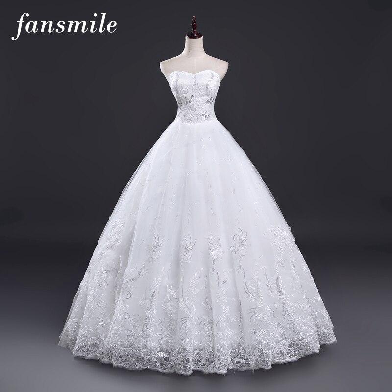 Fansmile Vestidos de Novias Vintage Lace Wedding Dresses 2017 Ball Gowns Sweetheart Plus Size Wedding Gowns Real Photo FSM-024F