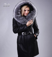 European Size S 7XL New Fashion Slim Women Winter Plush Trench Coat Fur Fox Collar Faux