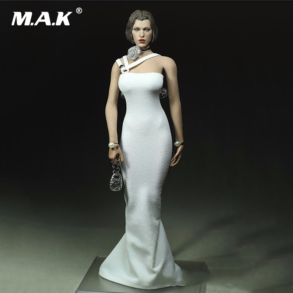 Girl Dress 1/6 Scale Female White Pearl Dress Clothing Model Toys For 12 New Action Figures Model Collections 1 6 purple female sexy leather skirt dress suit clothing model toys for 12 female action figures body accessory