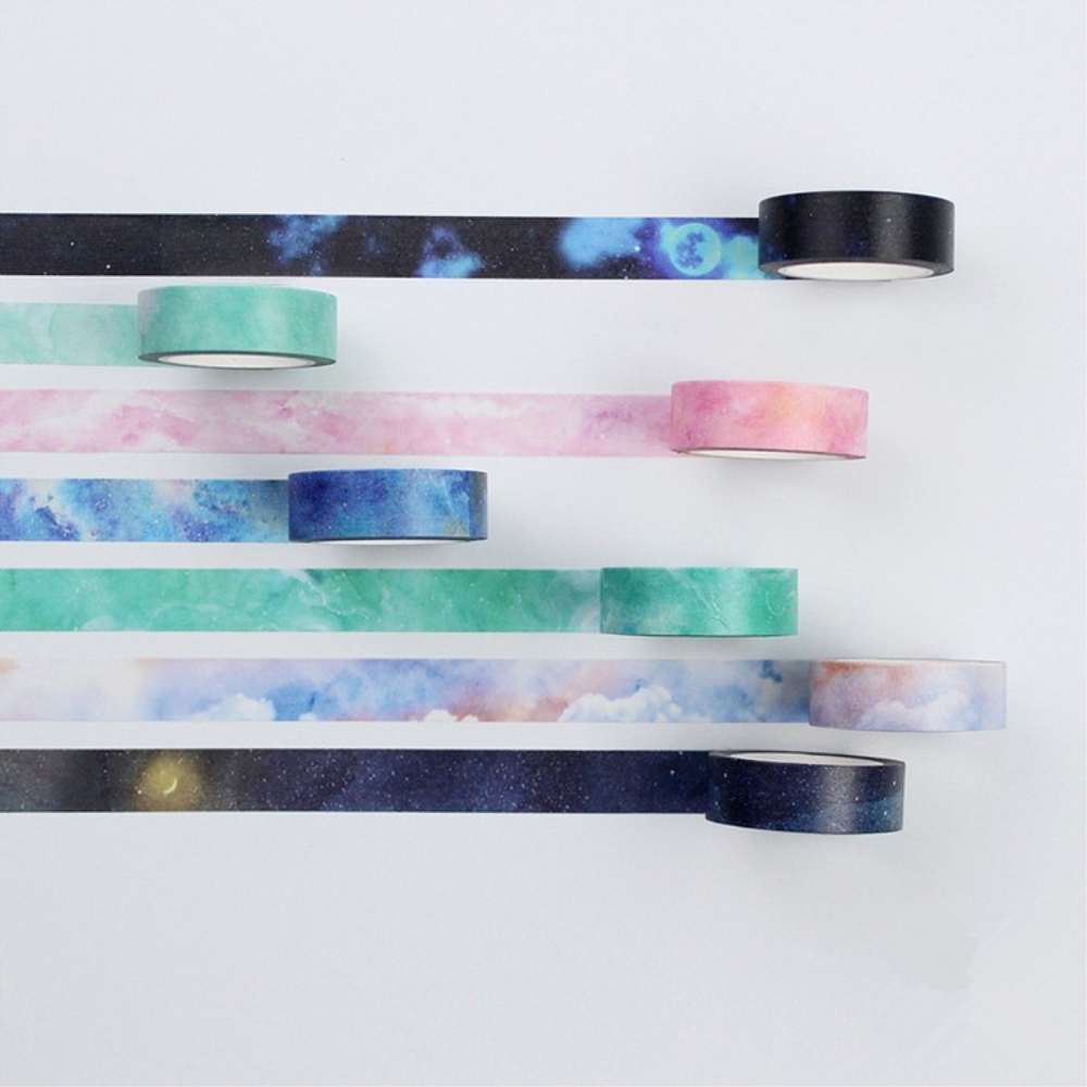 DIY 7 Colors Starry Sky 5mm 8M Fantasy Romantic Photo Decorative Washi Tape Can Write Masking Adhesive Tape For Scrapbooking