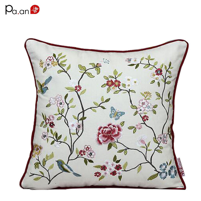 Fashion Cotton Pillow Case Embroidered Flower Birds Handmade Pillow Covers Office Chair Handmade Pillowcase Home Textile