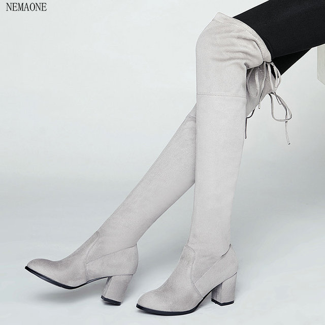 d0ca9bff1e69f8 NEMAONE 2017spring and autumn Women Stretch Faux Suede Thigh High Boots  Sexy Fashion Over the Knee Boots High Heels Woman Shoes