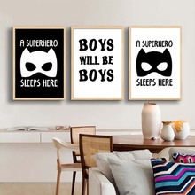 Superhero Boys Canvas Art Posters And Prints  Batman Rabbit Painting Baby Room Wall Decor For Kids
