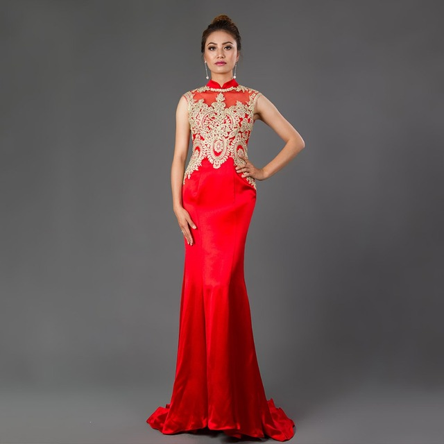 cde78b6ee5f CAZDZY Mermaid Prom Dress 2018 Robe De Soiree Formal Gowns Red Chinese  Style Gold Appliques Prom Dresses