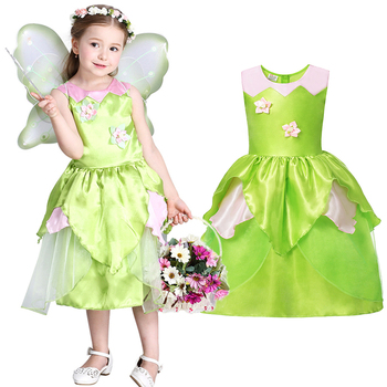 Verde Tinkerbell Dress per la Ragazza Woodland Fata Costume Bambini Cosplay Principessa Trilli Bambini Festa di Compleanno Abbigliamento 3-8yrs
