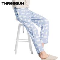THREEGUN 2018 Autumn&Winter New Printed Sleep Bottoms Comfort Cotton Women's Home Trousers Drawstring Pajama Pants Lounge Pants