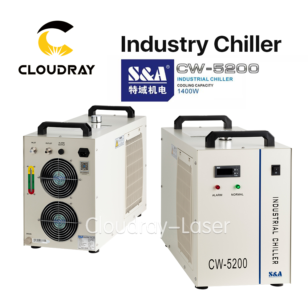 Cloudray S&A CW5200 CW5202 Industry Air Water Chiller for CO2 Laser Engraving Cutting Machine Cooling 150W Laser Tube cw5000 industry air water chiller for co2 laser engraving cutting machine cooling 80w 100w laser tube