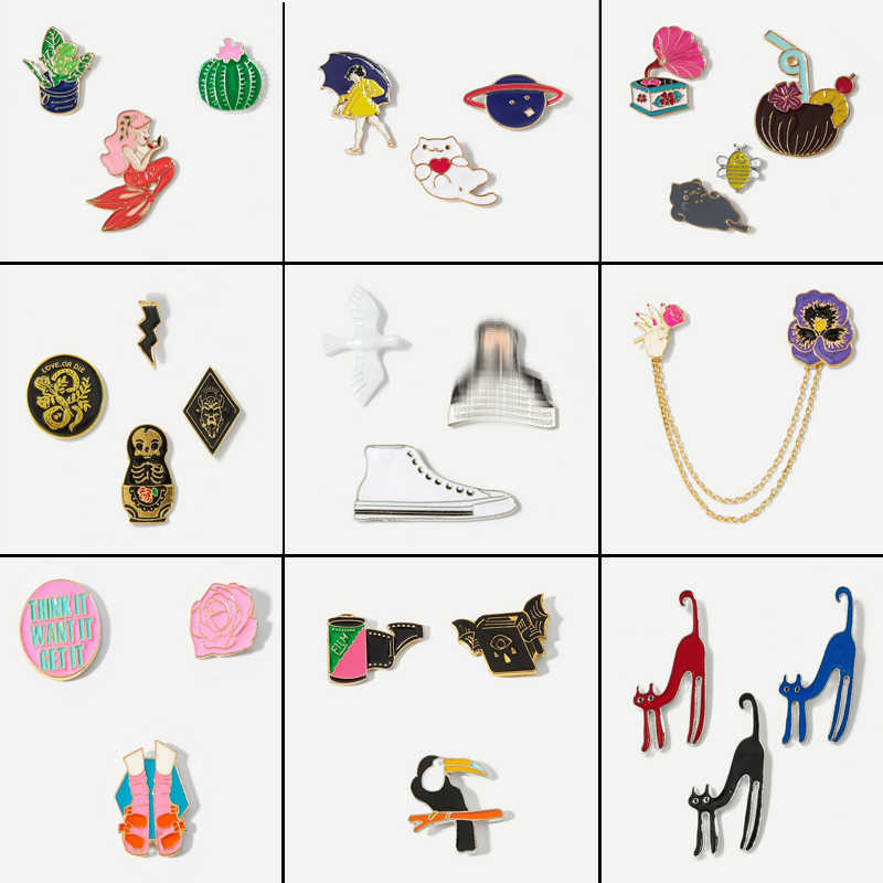 Cute mermaid, rose, woman, bird,Planet,canvas shoes, red / blue / black cat alloy brooch jewelry cute animal plant brooch set