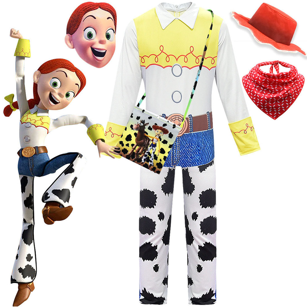 Toy Story 4  Cowgirl Jessie Outfit Cosplay Costume Halloween Carnival Costumes For Kid Girls Full Sets