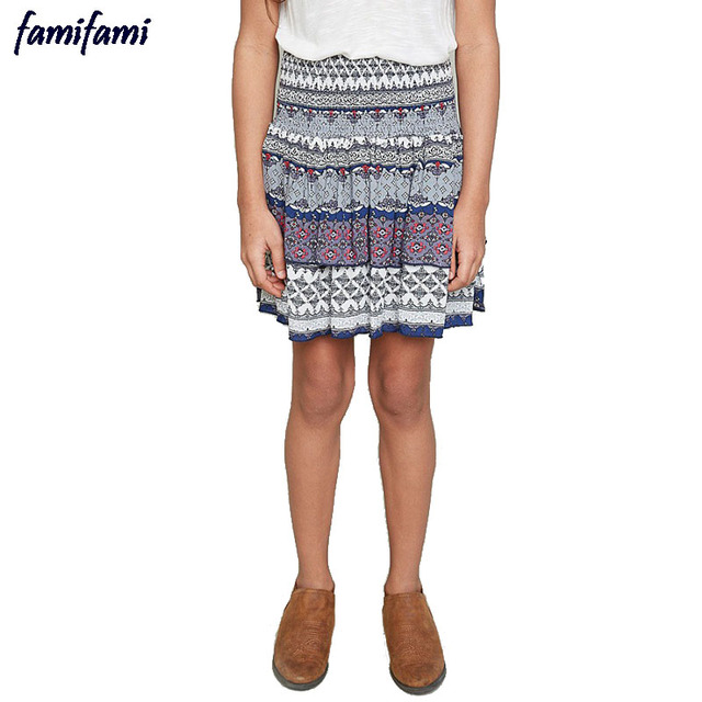 FAMIFAMI Teen Girls Skirts 2017 Spring Summer Kids Bohemian Style Knee Length Print Skirt Teenagers Clothing Size 10 8 9 Years