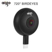 Aigo мини мобильный телефон панорамный Камера 720 градусов видео Камера Двойной объектив с двойной адаптеры разъемы для смартфонов