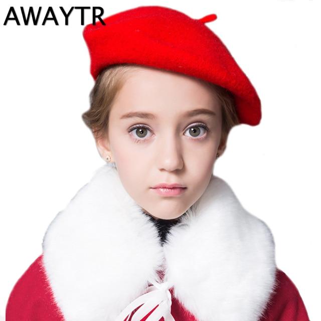 Inverno Criança Chapéu Boina boina Meninas AWAYTR Cores Sólidas Cap Cúpula  de Lã Chapéus Quentes Menina 6219cbe162c