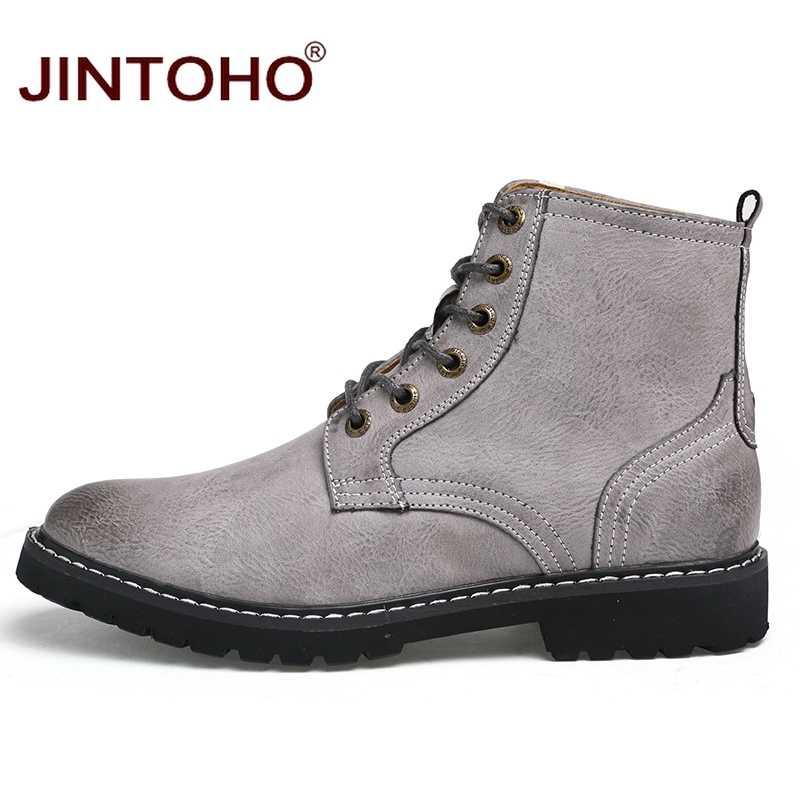 JINTOHO Lederen Mannen Winter Schoenen Mode Mannen Winter Laarzen Puntschoen Mid-Kalf Laarzen Voor Mannen Mannelijke Lederen Laarzen