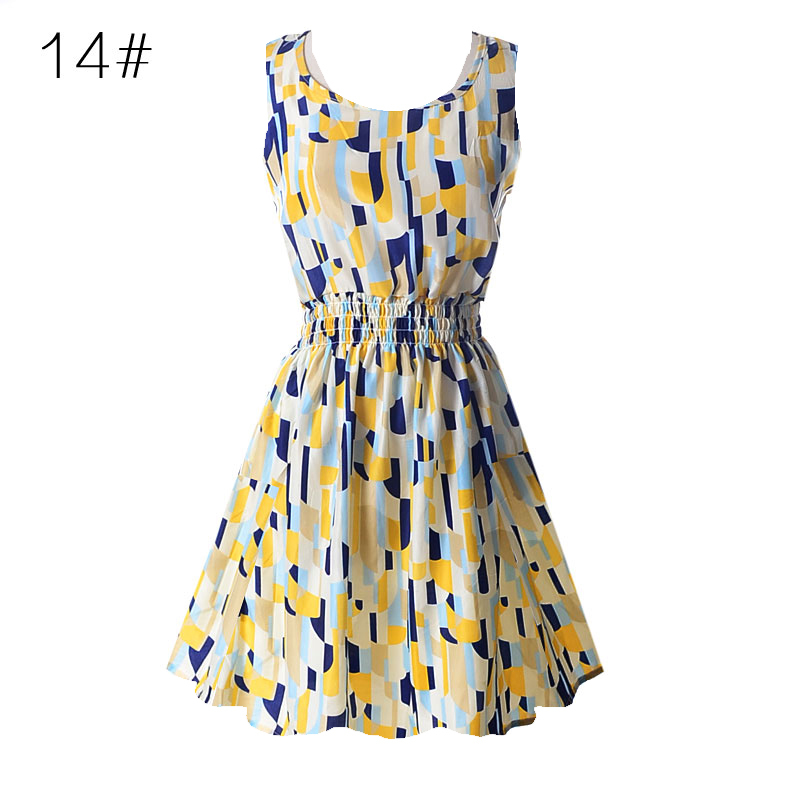 Nieuwe zomer vrouwen casual Boheemse bloemen Sundress afgedrukt mouwloos strand Chiffon jurk Vestido voor maat M L XL XXL