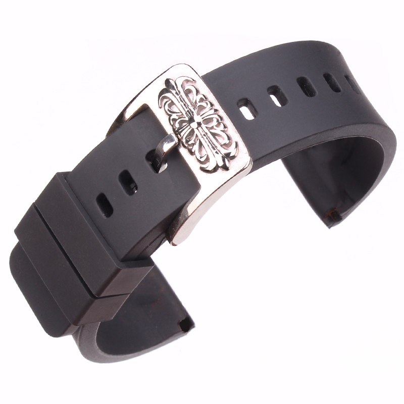 HENGRC 20mm Black Soft Watchband Silicone Rubber Waterproof Strap Wrist Loop Belt Bracelet Stainless Steel Embossed Pin Buckle silicone rubber watch band 15mm 16mm 17mm 18mm 19mm 20mm 21mm 22mm for mido stainless steel pin buckle strap wrist belt bracelet