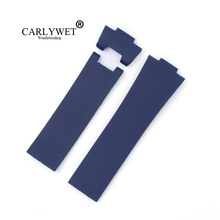 CARLYWET 25*12mm Blue Waterproof Silicone Rubber Replacement Wrist Watch Band Strap Belt carlywet 25 12mm black brown blue waterproof silicone rubber replacement wrist watch band strap belt for ulysse nardin
