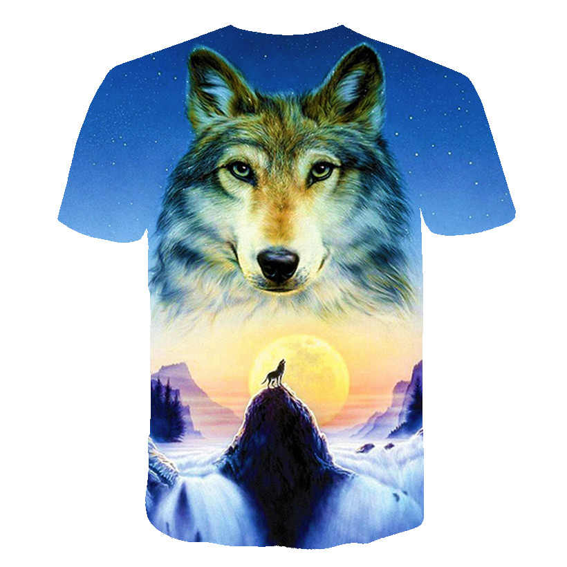 2019 新夏ブランド 3D ウルフヘッド tシャツの男ラウンド襟半袖 tシャツメンズファッション tシャツ半袖ドロップシッピング