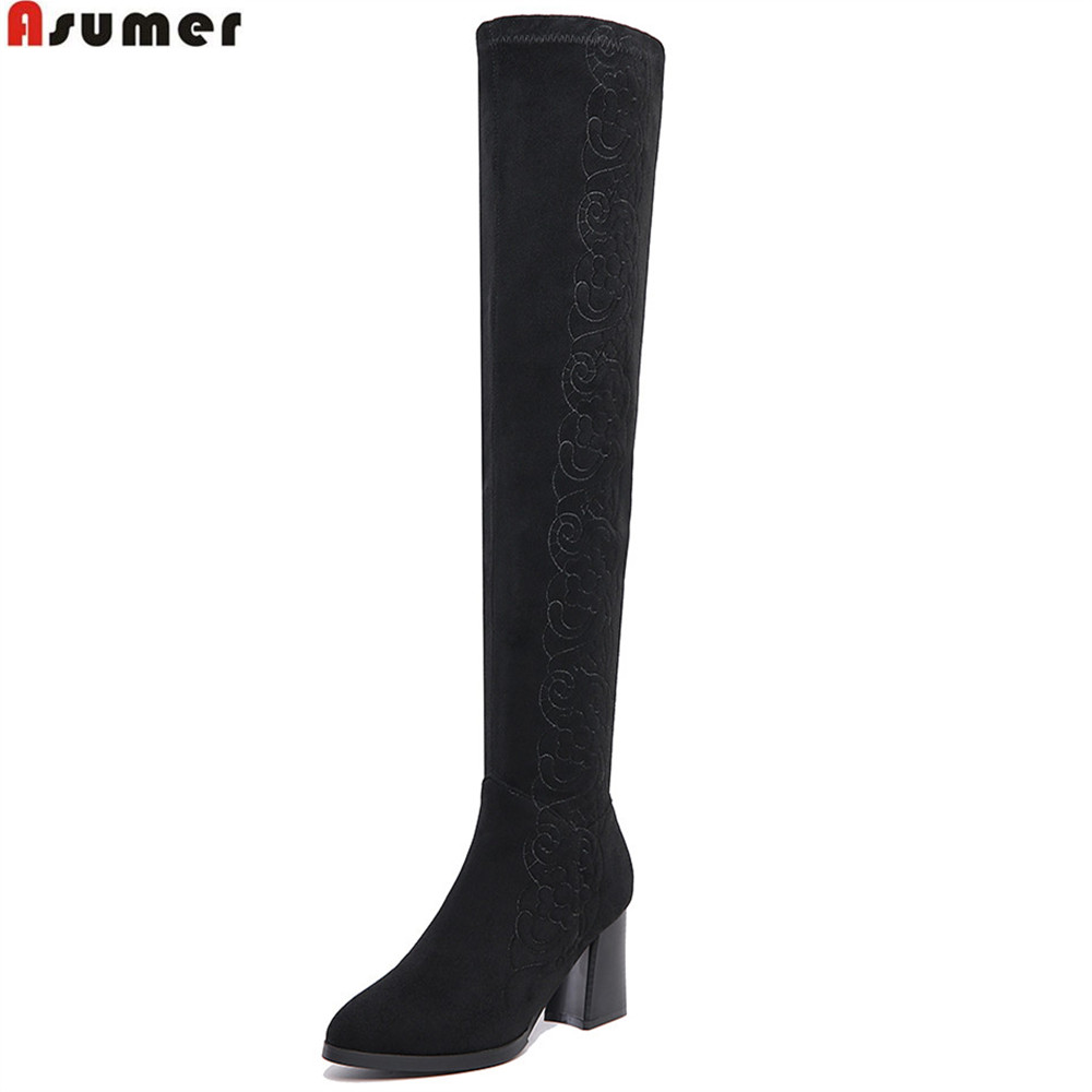 ASUMER hot sale new arrive women boots round toe zipper cow suede boots black yellow square heel over the knee boots asumer 2018 hot sale new arrive women boots round toe black white pink ladies boots keep warm winter knee high boots