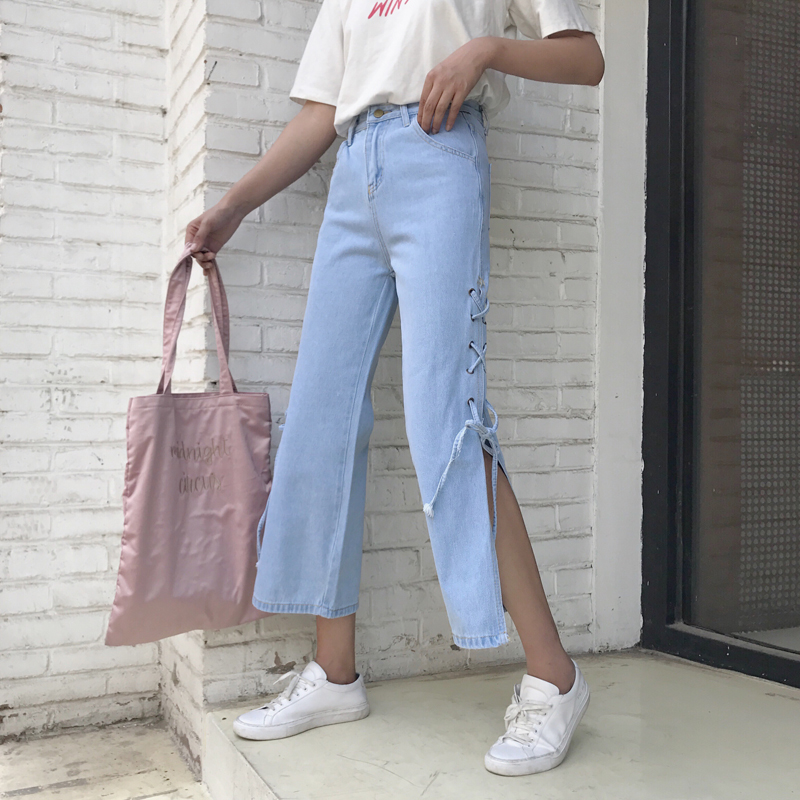 Mihoshop Ulzzang Korean Korea Women Fashion Clothing Bandage High Waist Denim all match Jeans Pants